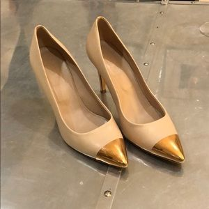 Jcrew Elsie every nude gold cap leather pumps